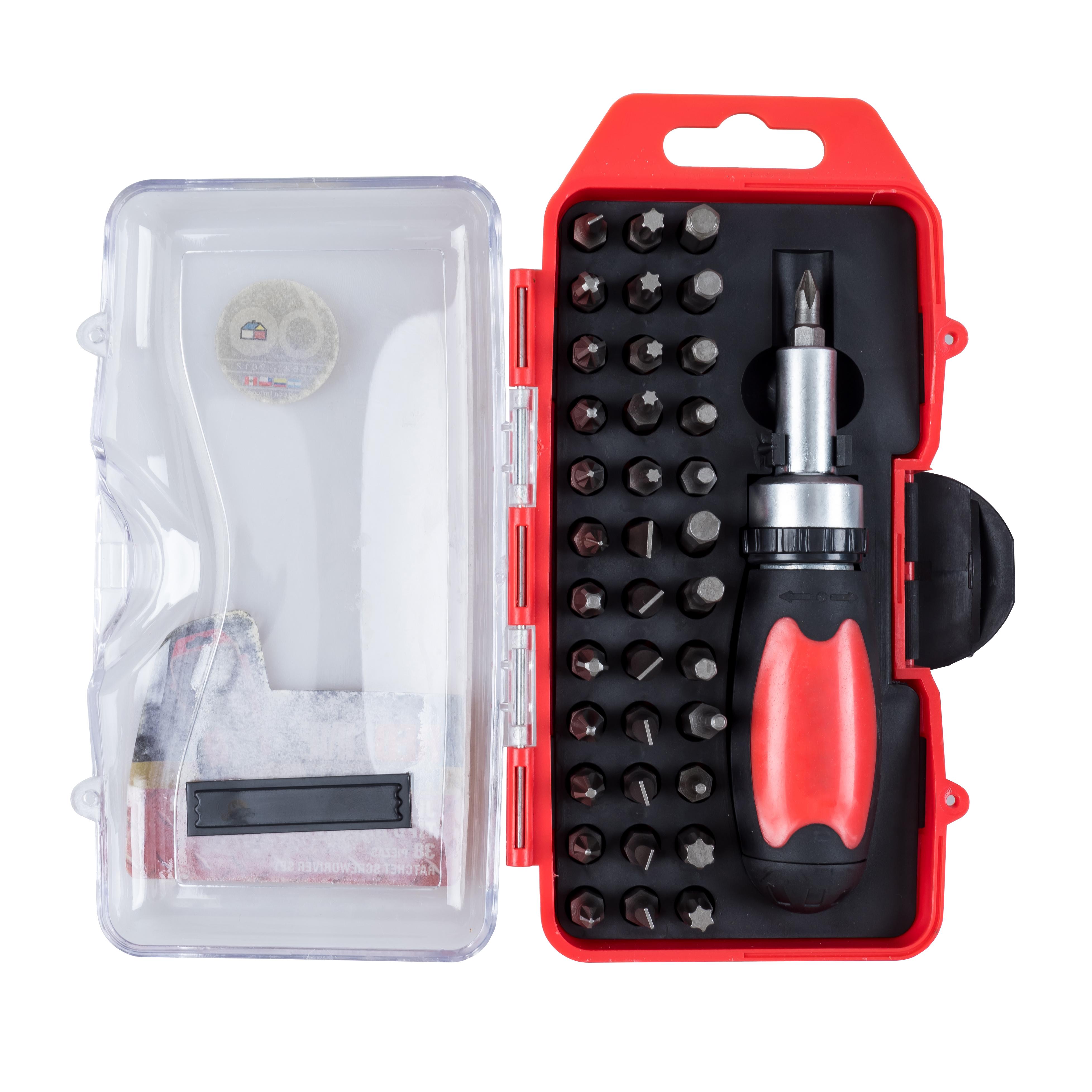 060445-01CL 37pc ratchet screwdriver & bit set